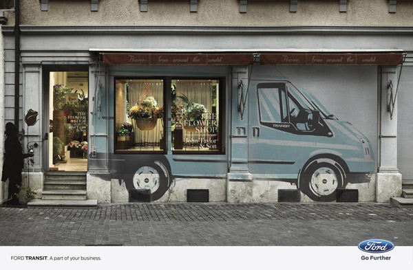 flower shop storefront design ford transit print ads