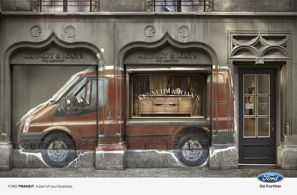 furniture storefront design ford transit print ads
