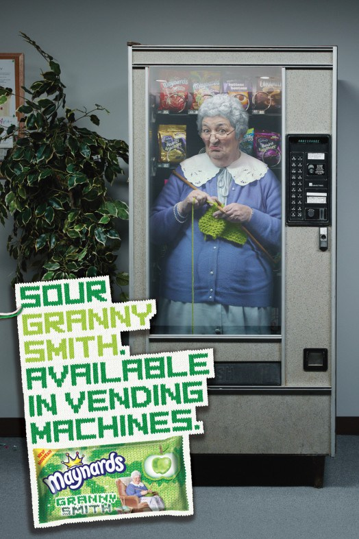 sour granny smith candy vending machine poster