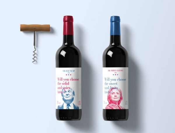 wine bottle labels that reference hillary clinton and donald trump