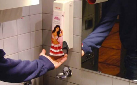 hula girl soap dispenser guerilla marketing in restroom