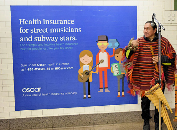 subway poster for oscar health insurance
