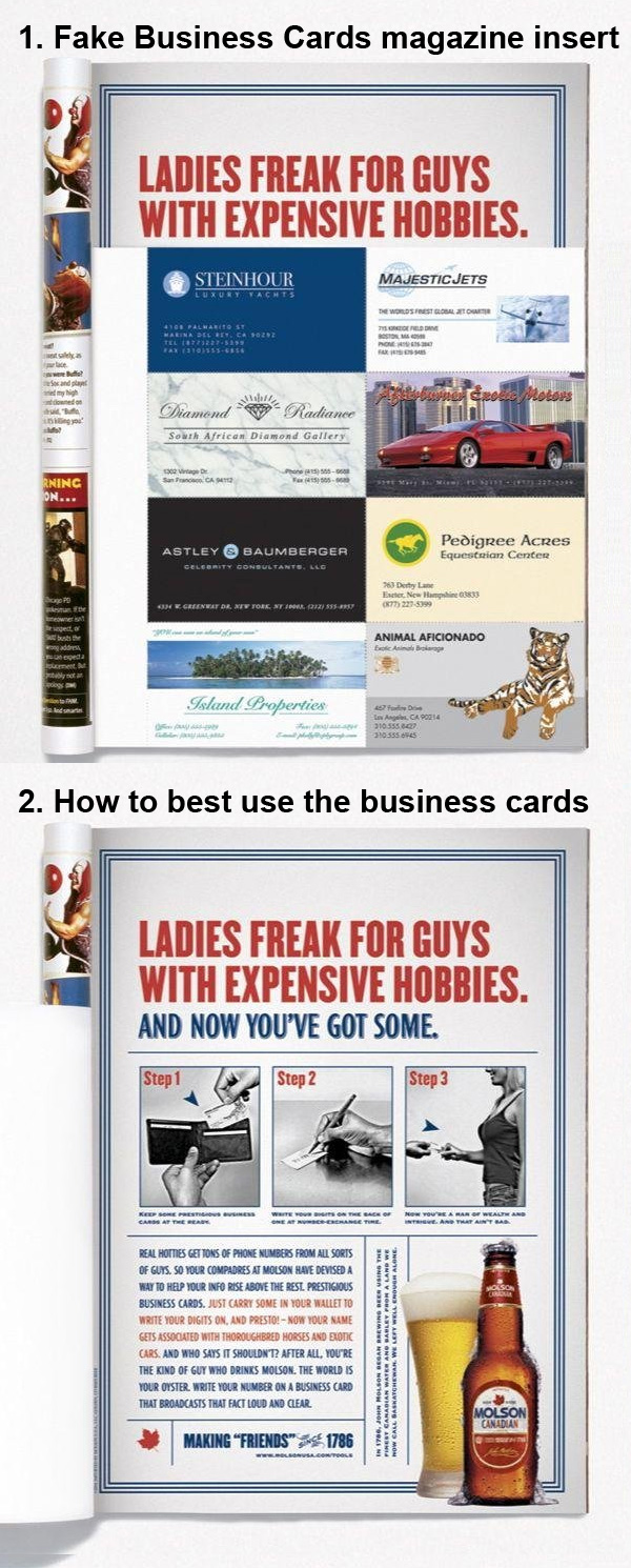 fake business cards to appear wealthy to women molson beer