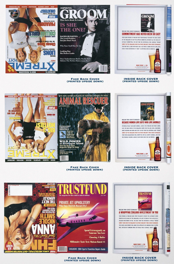 fake back covers of mens magazines molson beer