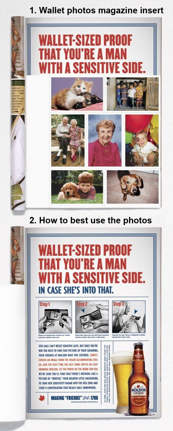 fake wallet photos to appear to be sensitive to women molson beer