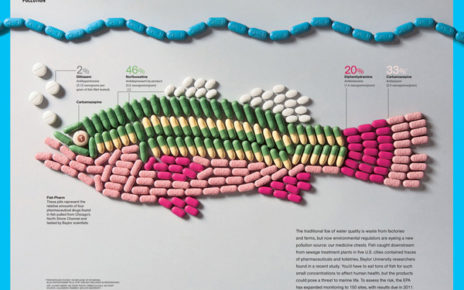 infographic showing pollution pharmaceuticals in fish