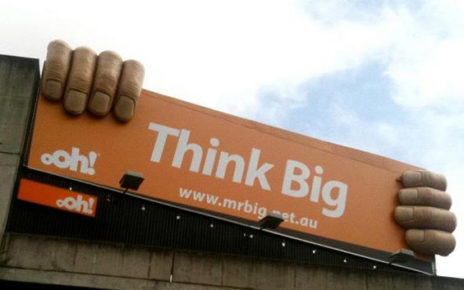 3D Billboard Think Big hands