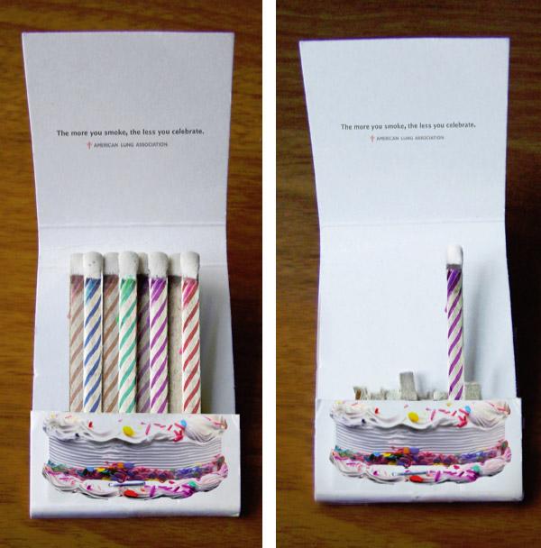 birthday candles matchbook - stop smoking
