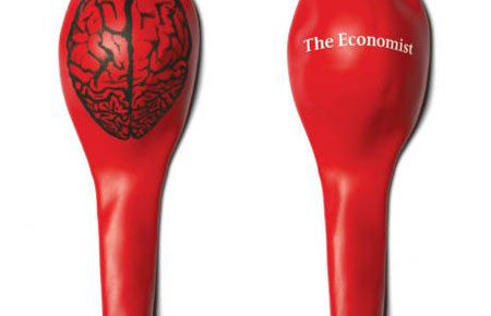 giveaway promo brain balloon the economist mag