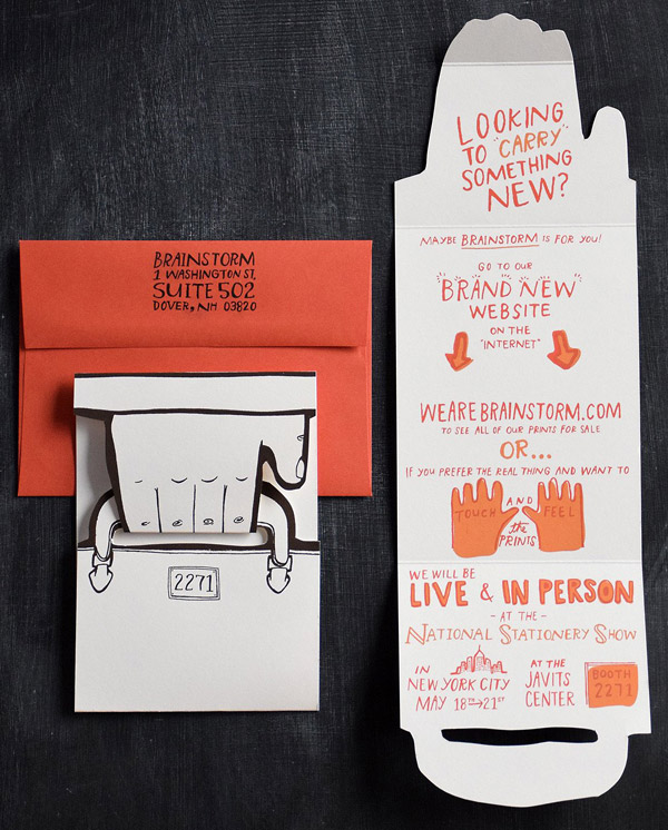hand illustrated briefcase direct mail piece