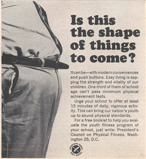 shape of things to come newspaper ad - presidents council on physical fitness