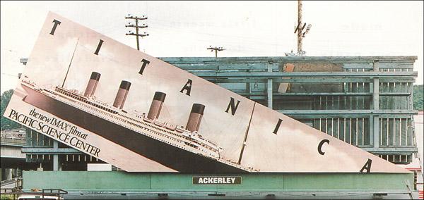 sinking titanic billboard
