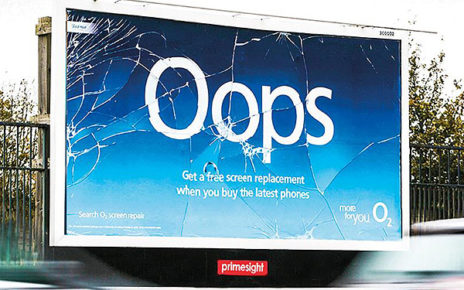 billboard appears to be cracked advertising cracked phone screen repair