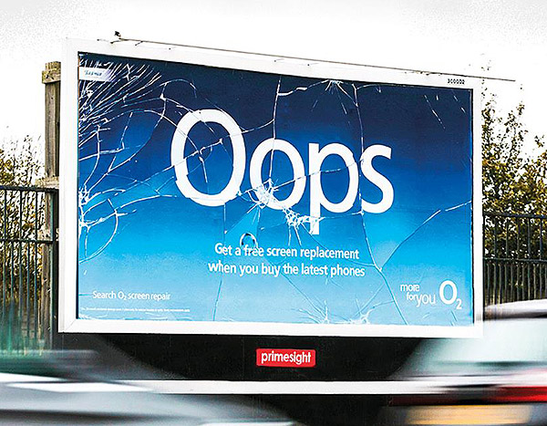 billboard appears to be cracked advertising cracked phone screen repair