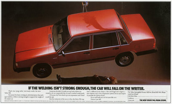 volvo suspended above ad writer
