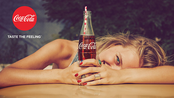 coke taste the feeling print ad blonde girl smiling at you