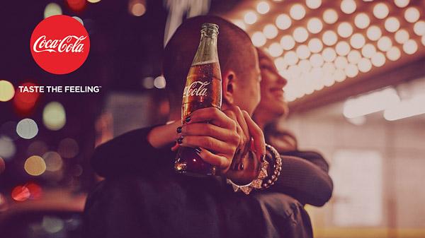 coke taste the feeling print ad party glitter hugging
