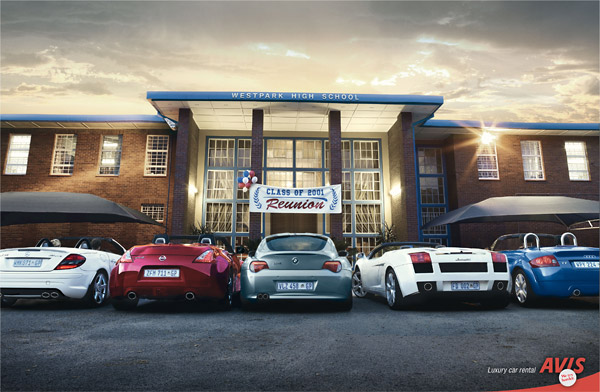 avis luxury car rental magazine ad - high school reunion parking lot