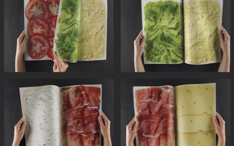 multi page magazine spread showing layers of fresh sandwich ingredients