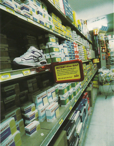 nike displayed in sprain and strain relief section of store