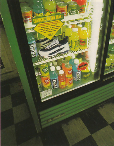 nike in energy drink display case of store