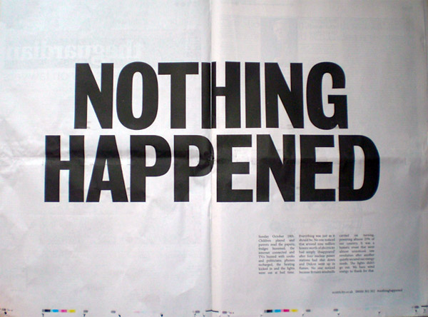 nothing happened - alternative energy co newspaper spread headline
