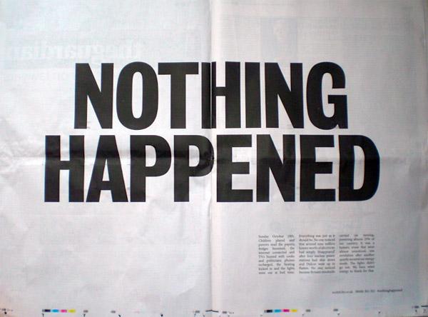 nothing happened - alternative energy co newspaper spread headline