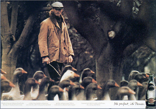 french goose farmer - perrier print ad