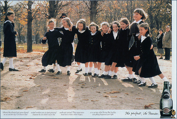 french school kids playing - perrier print ad