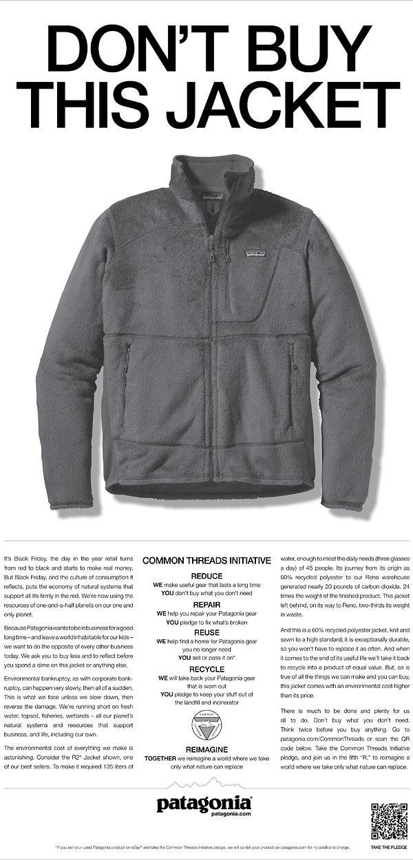 dont buy this jacket print ad - patagonia