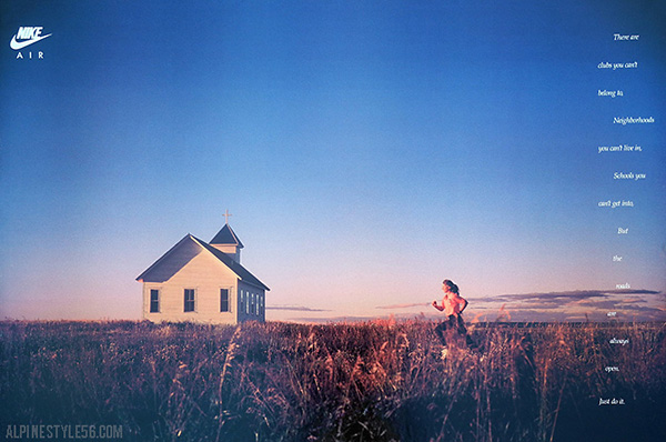 girl running in field by country church - nike poster