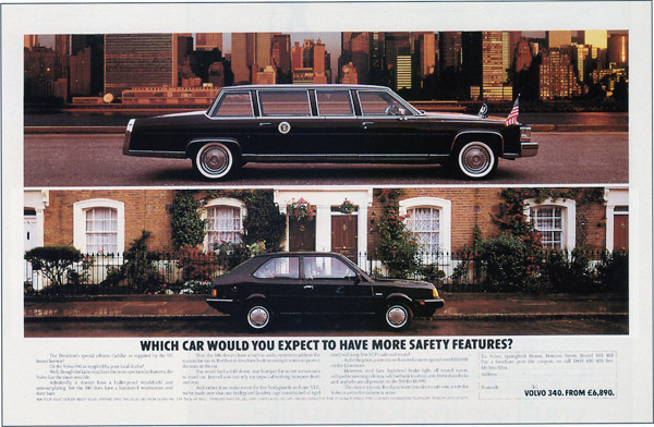 volvo 340 product features vs US presidential limo print ad
