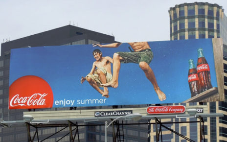 cocacola enjoy summer billboard campaign swimming