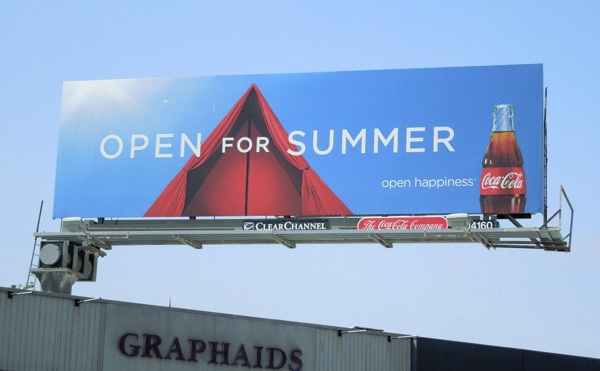 coca cola open for summer billboard camping tent