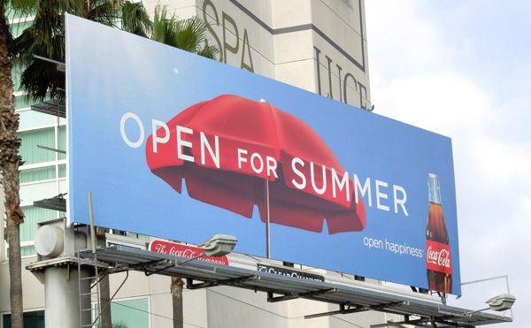 coca cola open for summer billboard umbrella