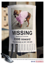 lost dog poster with tear off phone tabs - powerful vacuum print ad campaign