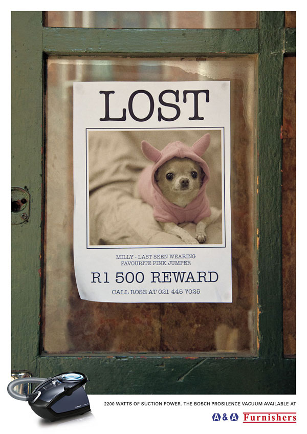 adorable, tiny lost dog reward poster - powerful vacuum print ad campaign