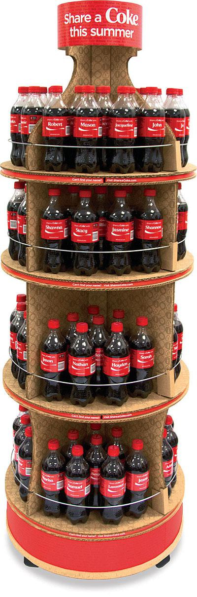 personalized coke bottle point of purchase display rack