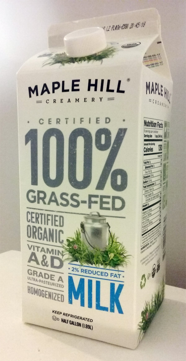 100% grass-fed milk carton - maple hill