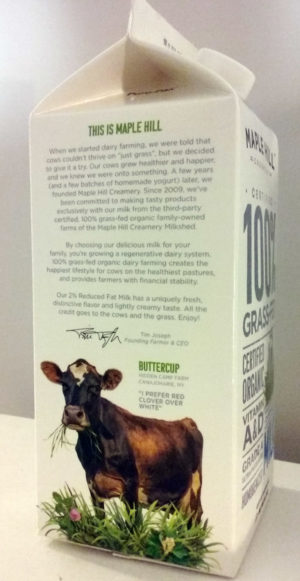 100% grass fed milk carton buttercup the cow