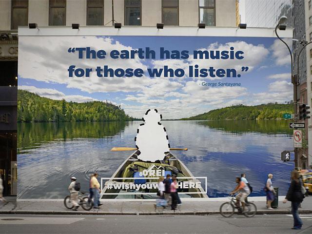 wish you were here REI billboard cutout canoeing