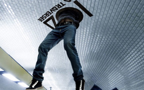 body falling through ceiling billboard marketing