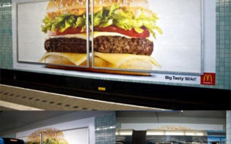 billboard exaggerates size - burger spans two billboards