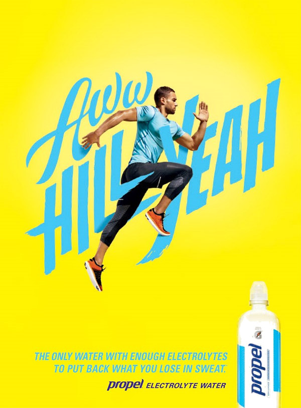 attention-grabbing use of hand-illustrated type running - propel water