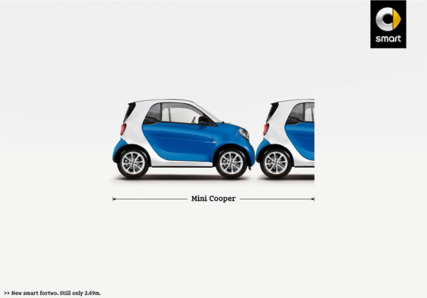 Size Comparison Print Ad For Smart Car