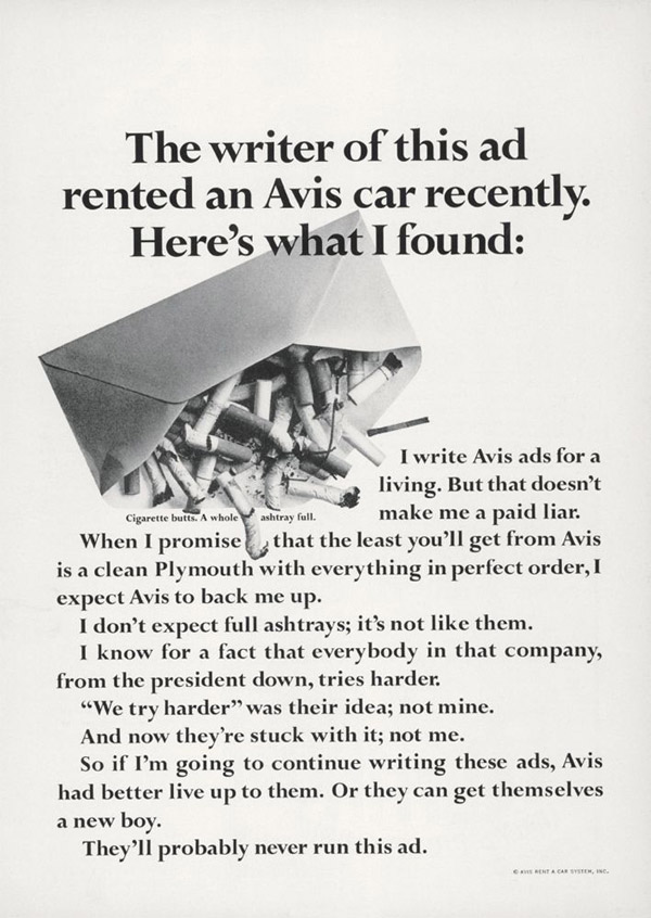 most honest ad ever written - avis dirty ashtray