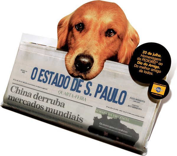 newspaper insert - dog delivering paper - pedigree