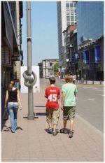 street light pole twisted in knot like a pretzel