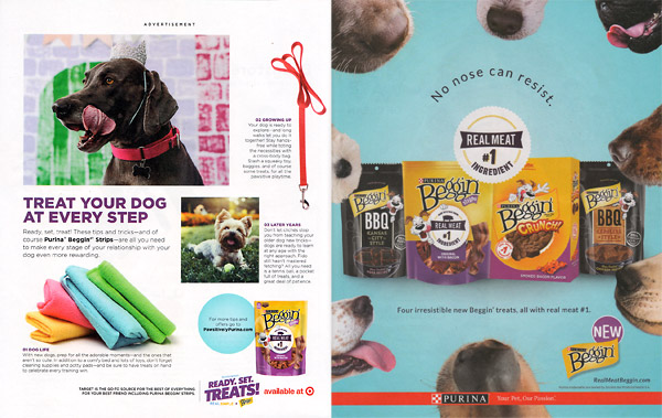 example of native advertising in print magazine spread - pet treats