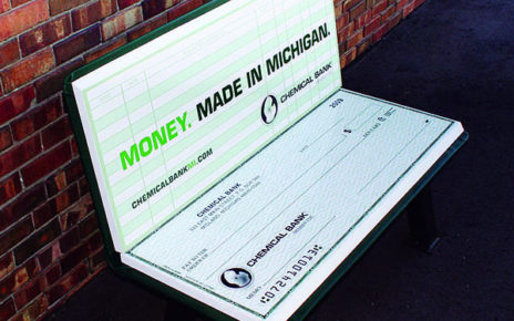 park bench advertising looks like open checkbook